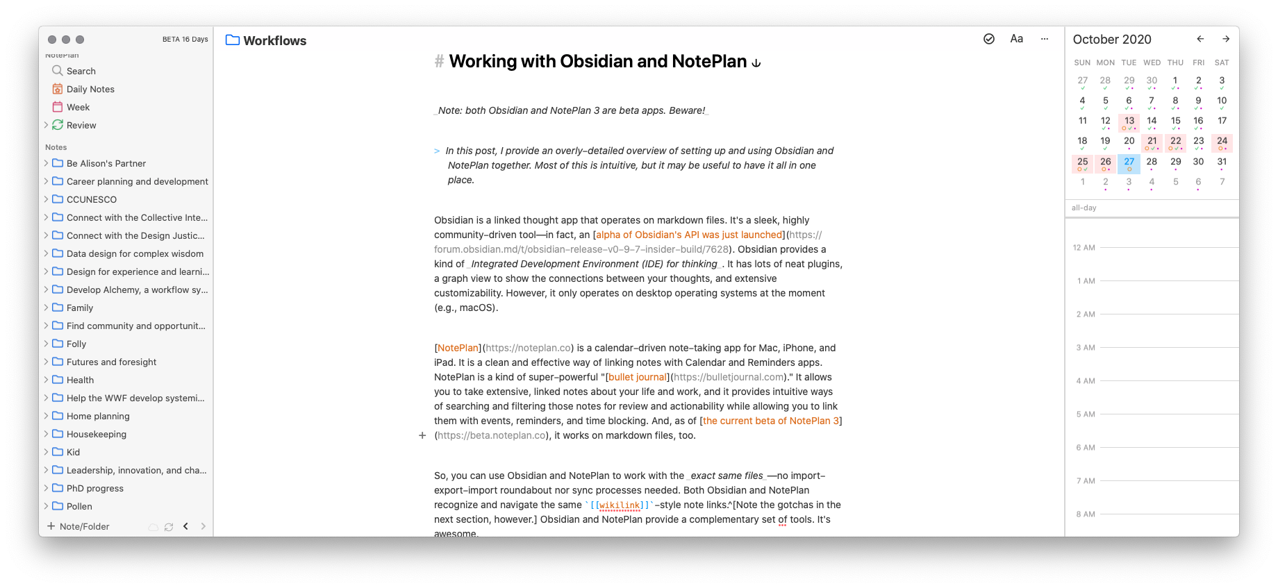 A screenshot of NotePlan with this article in view.